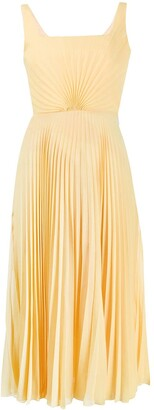 Marco De Vincenzo Silk Pleated Flared Midi Dress