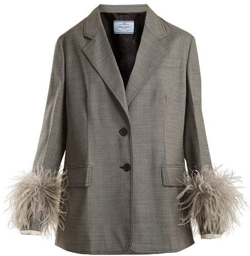 Prada Feather Cuff Tailored Suit Jacket - Womens - Grey