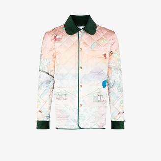Casablanca Quilted Ski Sunset Print Bomber Jacket