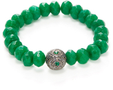 Sterling Silver, Green Onyx, Emerald & Pave Champagne Diamond Beaded Bracelet