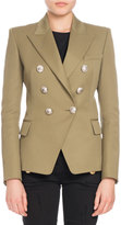 Balmain Classic Double-Breasted Wool Blazer, Olive