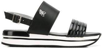 Hogan Striped Sole Platform Sandals