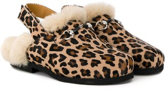 Gallucci Kids leopard-print shearling slippers