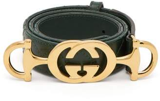 Gucci Horsebit-buckle Quilted Leather Belt - Womens - Green