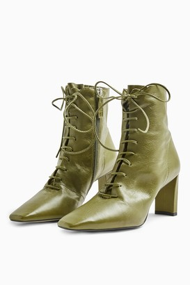Topshop Womens Matilda Green Lace Up Boots - Army Green