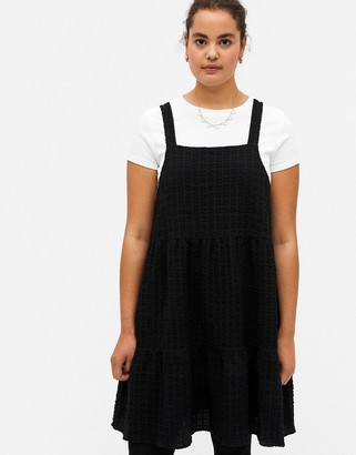 Monki Tara organic cotton mini smock dress in black