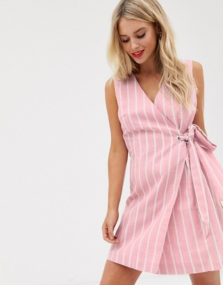 Glamorous wrap front dress in textured stripe-Pink