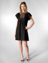 Cotton Linen Short Sleeve Lattice Dress in Black