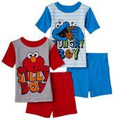 Sesame Street Elmo & Cookie Monster Toddler Boy 4-pc. Pajama Set