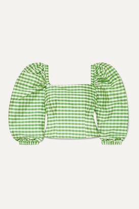AVAVAV Gingham Silk Top - Green