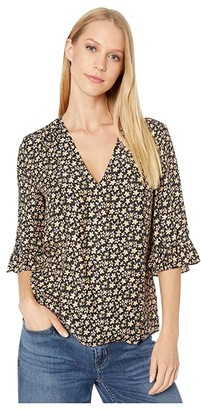 Rebecca Taylor Long Sleeve Louisa Floral Top (Yellow Combo) Women's Clothing