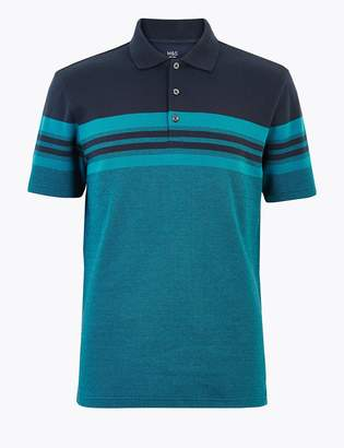 Marks and Spencer Cotton Striped Polo Shirt