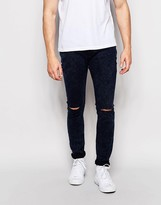Pull&Bear Super Skinny Jeans In Dark Blue Acid Wash With Knee Rips