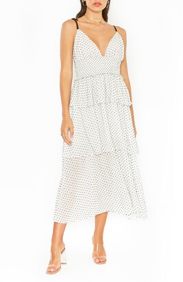 4SI3NNA the Label Paula Polka Dot Tiered Ruffle Midi Sundress