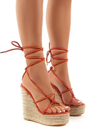 Public Desire Uk Luciana Lace Up Espadrille Wedge Heeled Sandals