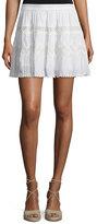Ramy Brook Francesca Crochet-Inset A-Line Skirt, Ivory