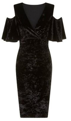 Dorothy Perkins Womens Girls On Film Black Crushed Velvet Bodycon Dress, Black