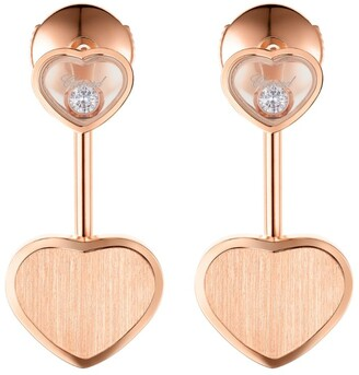 Chopard Rose Gold and Diamond Happy Hearts Earrings