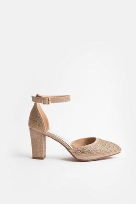 Coast Block Heel Glitter Court Shoe