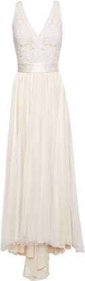 Catherine Deane Satin-trimmed Embroidered Tulle Gown
