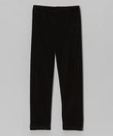 Mulberribush Black Velour Leggings - Toddler & Girls