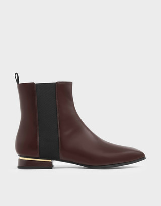 Charles & Keith Metal Accent Heel Chelsea Boots