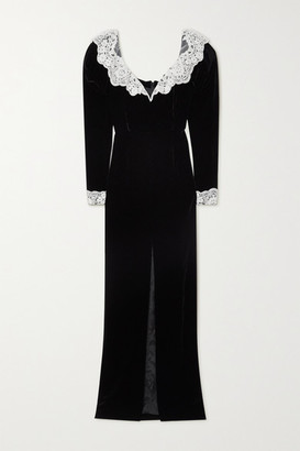Alessandra Rich Lace-trimmed Sequin-embellished Velvet Gown - Black