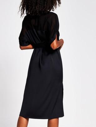 River Island Chiffon Panel Shirt Dress - Black