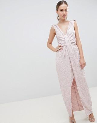 ASOS DESIGN drape knot front scatter embellished sequin maxi dress