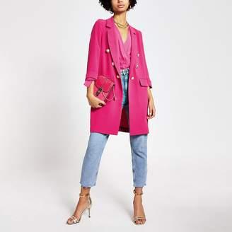 River Island Pink button front longline blazer jacket