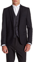 The Kooples Single Button Peak Lapel Velvet Trim Wool Jacket