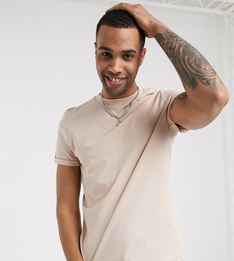ASOS DESIGN Tall t-shirt with roll sleeve in beige