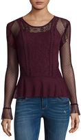 Self Esteem Long Sleeve Round Neck Lace Blouse-Juniors