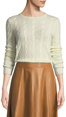 Ralph Lauren Crewneck Long-Sleeve Cashmere Cable-Knit Sweater