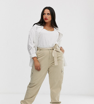 New Look Plus Curve utility jogger in stone-Beige