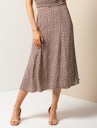 Forever New Ellie Petite Split Midi Skirt - Chocolate Mini Vine Ditsy - 10