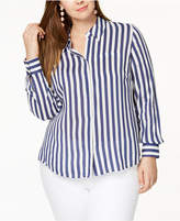 INC International Concepts I.N.C. Plus Size Striped Shirt, Created for Macy's