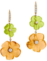 Rina Limor Fine Jewelry Hand-Carved Citrine & Peridot Flower Earrings with Diamonds