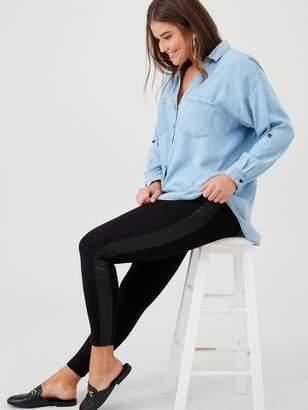 Junarose Curve Siska Leather Side Panel Leggings - Black