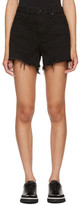 Alexander Wang Black Bite Frayed Denim Shorts