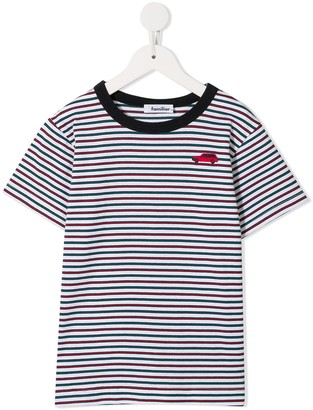 Familiar embroidered car striped T-shirt