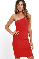 LuLu*s Honorable Mention Coral Red One Shoulder Dress