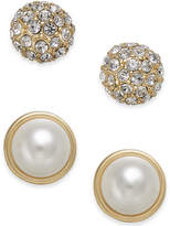 Charter Club Gold-Tone 2-Pc. Set Pave & Imitation Pearl Stud Earrings, Created for Macy's