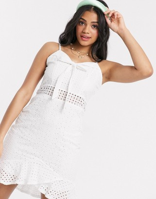 Wild Flower broderie anglais bow front mini dress with flippy hem in white