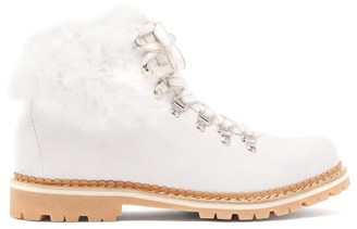 Montelliana Clara Shearling-lined Suede Apres-ski Boots - White