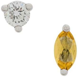 Delfina Delettrez 18kt white gold Dots Solitaire yellow beryllium and diamond earrings