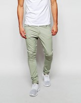 Asos Extreme Super Skinny Trousers In Army Green - Green