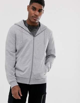 Asos Design DESIGN lightweight zip up hoodie in gray marl