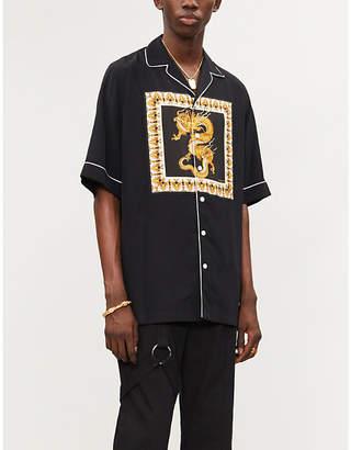 Versace Dragon-print regular-fit satin shirt