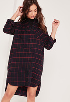 Missguided Checked Oversized Shirt Dress Navy